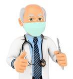 Chirurg 3D mit Maske und Skalpell stock abbildung
