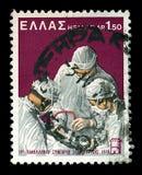 Chirurgen, die Chirurgieweinlese-Briefmarke durchführen Lizenzfreie Stockbilder