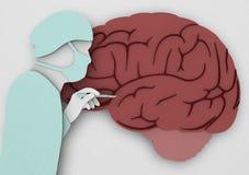 Chirurgie cérébrale d'étude de Doctor de chirurgien, Alzheimer Illustration de Vecteur