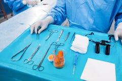 Chirurgien avec l'outil chirurgical sur la pièce en fonction de plateau Photo libre de droits