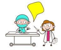 Chirurgien Doctor de bande dessinée avec l'illustration auxiliaire femelle de vecteur Illustration Libre de Droits