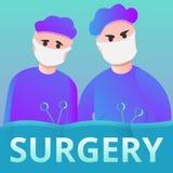 Chirurgiens actionnant la bannière de concept, style de bande dessinée illustration de vecteur