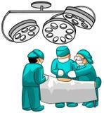 Chirurgiens dans la chambre effective illustration de vecteur