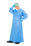 Chirurgische vrouw arts op witte backgroung Royalty-vrije Stock Afbeeldingen