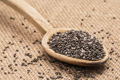 Chia seeds on sack cloth. Wooden spoon full with chia seeds on sack cloth background Stock Photos