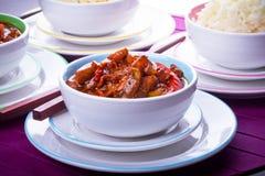 Chińscy ryż cukierki i podśmietanie kurczak Zdjęcia Royalty Free