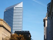 The Chisel. Chisel-shaped office building in Cleveland, Ohio stock image