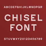 Chisel Alphabet Vector Font. Type letters and numbers. Royalty Free Stock Photography