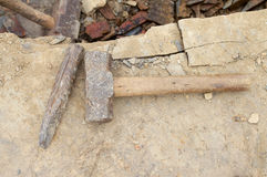 Chisel. The cold chisel and hammer Royalty Free Stock Photography