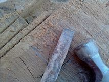 Chisel and hammer. Wooden stock images