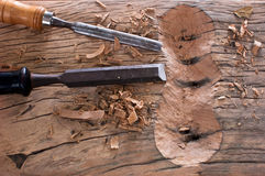 The chisel hammering on wood. The chisel hammering and pencil on wooden working stock photo