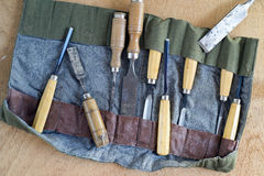 Chisel Set. Closeup of old wood chisels Royalty Free Stock Photos