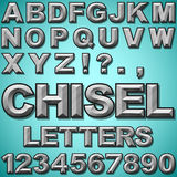 Chiseled Letters. An Alphabet Set of Chiseled Block Letters and Numbers Stock Photo