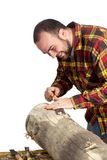 Chiseling Man Stock Photo