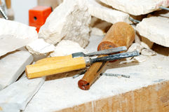 Chisels. Photo of Sculptor Tools and Pieces of Marble Stock Photos