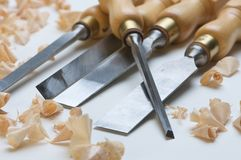 Chisels. And a pile of wood chips Stock Images