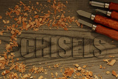 Chisels carved in wood Royalty Free Stock Photos