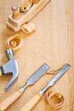 Chisels claw hammer and woodworkes plane Stock Image