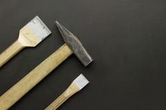 Chisels and hammer Royalty Free Stock Photography