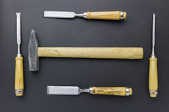 Chisels and hammer Royalty Free Stock Photos
