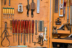 Chisels on the wall Stock Photo