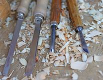 Chisels with wood chips after processing Stock Photography