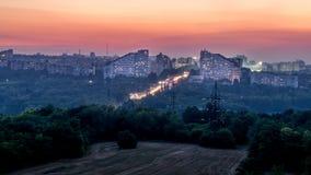 Chisinau, Δημοκρατία της Μολδαβίας Η πόλη Γκέιτς στο ηλιοβασίλεμα Στοκ φωτογραφία με δικαίωμα ελεύθερης χρήσης