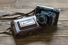 Chisinau, Δημοκρατία της Μολδαβίας - 14 Μαρτίου 2018: Η παλαιά σοβιετική μέση κάμερα moskwa-5 αποστασιομέτρων σχήματος και περίπτ Στοκ εικόνες με δικαίωμα ελεύθερης χρήσης
