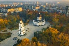 Chisinau, de hoofdstad van de Republiek Moldavië Antenne vi stock afbeelding