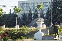 Chisinau gardener. Gardener watering the flowers of the flower beds near the triumphal arch in Chișinău, republic of moldova royalty free stock photography