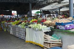 Chisinau market. Various products displayed on the stalls, in the farmer`s market in Chisinau, fruits and various vegetables - Republic of Moldova royalty free stock photo