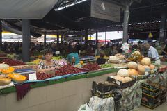 Chisinau the market. Woman selling fruit at the central market of chisinau, in Moldova royalty free stock photo