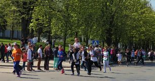Chisinau, Moldova- April 26. Marathon runners on the street Stef Stock Photo