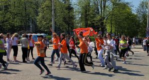 Chisinau, Moldova- April 26. Marathon runners on the street Stef Stock Photography