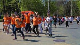 Chisinau, Moldova- April 26. Marathon runners on the street Stef Royalty Free Stock Photos