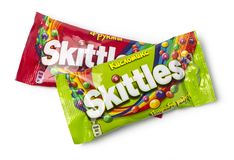 Pack of Fruit Skittles. Chisinau, Moldova, April 21, 2018: Pack of Fruit Skittles over a plain white background, with clipping path. The Skittles sweets brand is Royalty Free Stock Photos