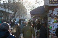 CHISINAU, MOLDOVA - 10 JANUARY, 2017: People circulating nearby. The Central Market of Chisinau, Moldova Royalty Free Stock Images