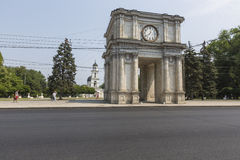 CHISINAU, MOLDOVA- JULY 30, 2016: Victory Arch in National Assem Royalty Free Stock Photos