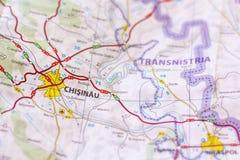 Chisinau na mapie Zdjęcia Stock