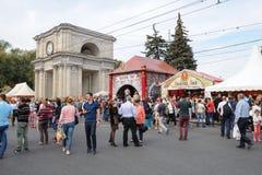 Chisinau, republika Moldova, Październik - 1, 2016: Świętowania wina Krajowy dzień przy głównym placem kapitał Obraz Royalty Free