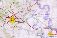 Chisinau su una mappa Fotografie Stock