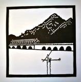 Chiński minimalisty stylu papieru rozcięcie Obraz Stock