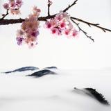 Chińskiego obrazu styl Czereśniowi okwitnięcia Obraz Royalty Free