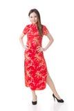 Chińskiej dziewczyny sukni tradycyjny cheongsam Zdjęcie Royalty Free