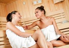 Chisme en sauna Imagen de archivo libre de regalías