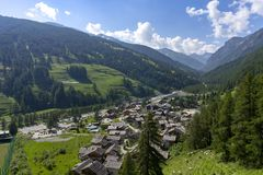 Mountain landscape along the road to Sestriere royalty free stock photo