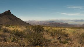 Chisos Mountains in Big Bend. National Park with a storm coming in Stock Image