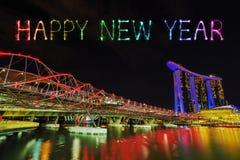 Chispa con el puente de la hélice, Singapur del fuego artificial de la Feliz Año Nuevo Fotos de archivo libres de regalías