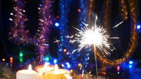 Chispa de la Navidad Celebración de la Navidad El Año Nuevo enciende el flash metrajes