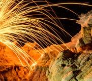 Chispa de las lanas de acero Imagen de archivo libre de regalías